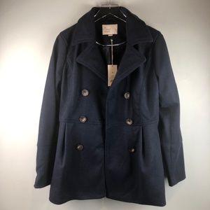 a new day Navy Blue Pea Coat Sz M